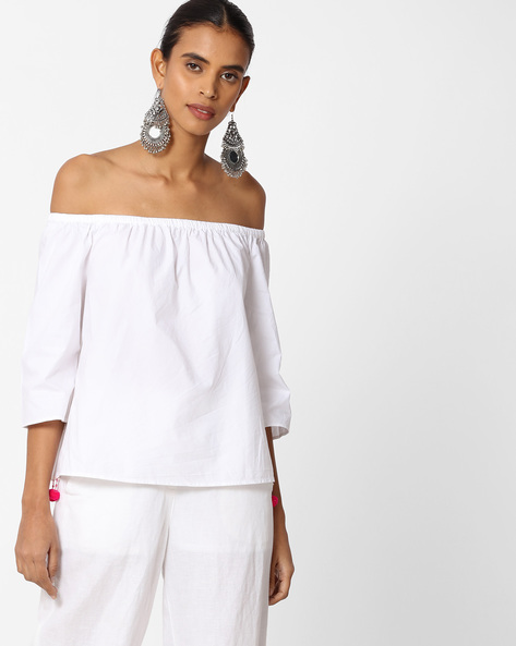 Off-Shoulder Top With Surplice Back By Vero Moda ( White )