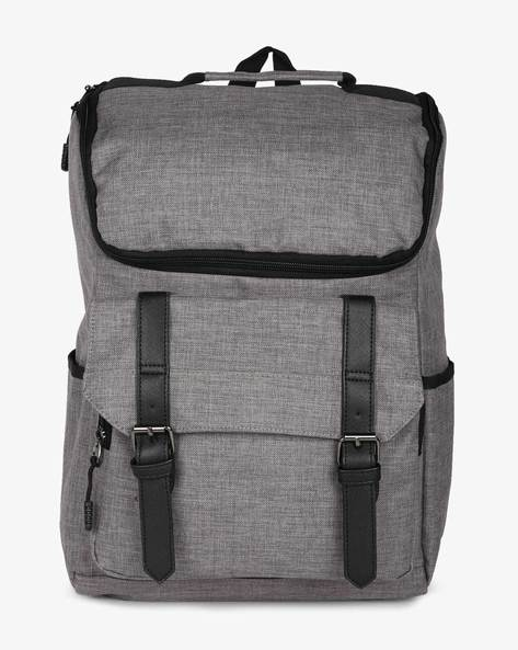 Laptop Backpack With Flap Pocket By AJIO ( Grey )