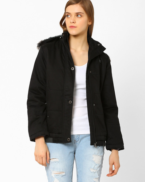 Cotton Parka With Fur Trim Hood By DUKE WOMEN'S ( Black )