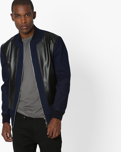 Denim Jacket With Leather Panel By MR.BUTTON ( Navyblue )