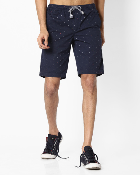 Geometric Print Regular Fit Shorts By TEAM SPIRIT ( Navy )