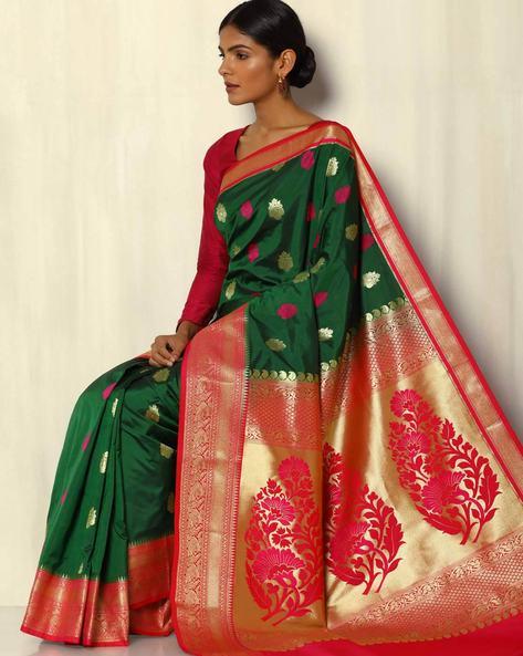 Kanchipuram South Silk Saree With Mina Buta Design By Pretty Woman ( Green )