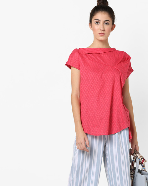 Textured High-Low Top With Button Closures By AJIO ( Pink )