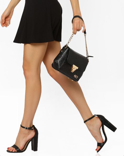 Croc-Embossed Sling Bag By E2O ( Black )