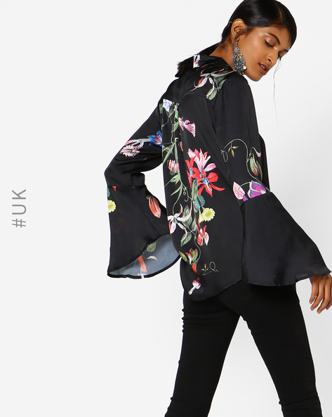 Floral Print Shirt With Bell Sleeves By NEON ROSE ( Black )