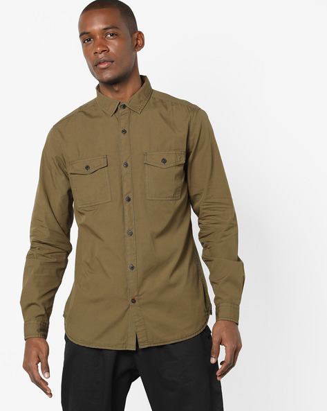 Cotton Shirt With Printed Back By Locomotive ( Green )