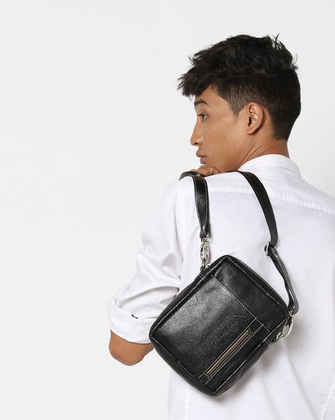 Textured Messenger Sling Bag By Tortoise ( Black )