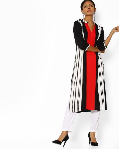 Colourblock Striped Kurta By Shree ( Red )