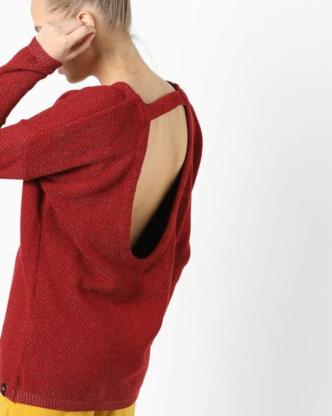 Crew-Neck Pullover With Back Cut-Out By SATVA ( Burgundy )