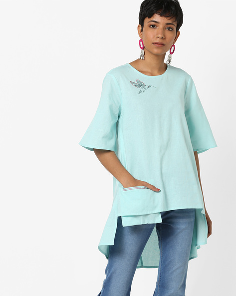 Tunic With High-Low Hem By AJIO ( Aqua )