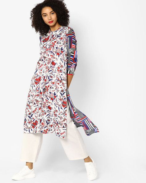 Printed Tunic With Button Placket By Akkriti By Pantaloons ( White )