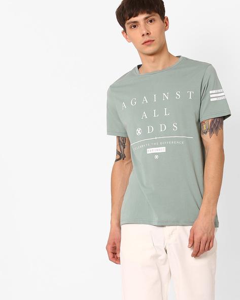 Typographic Print Slim Fit T-shirt By AJIO ( Green )