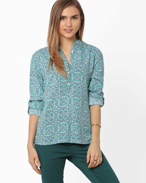 Printed Shirt With Mandarin Collar By AJIO ( Lightblue )