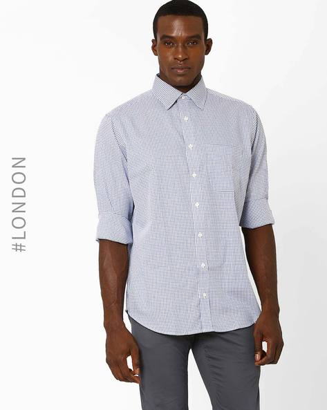 Check Shirt With Patch Pocket By Marks & Spencer ( Blue )