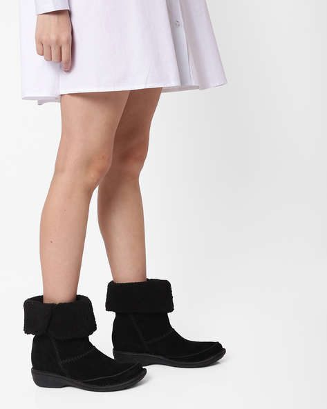 Avington Grace Boots With Fur Collar By CLARKS ( Black )