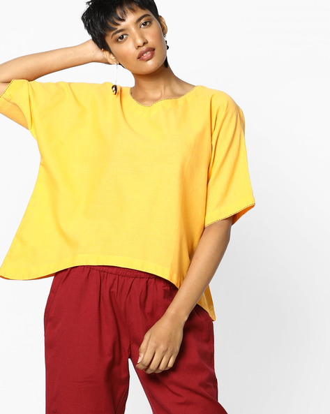 V-neck Top With Asymmetrical Hemline By PE IW Fusion ( Yellow )