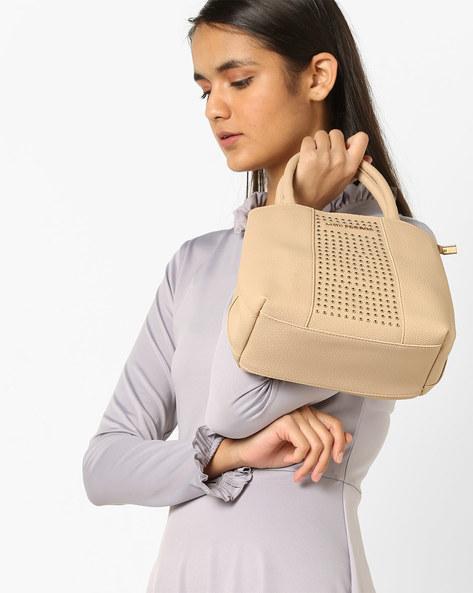 Embellished Handbag With Adjustable Sling Strap By Lino Perros ( Beige )
