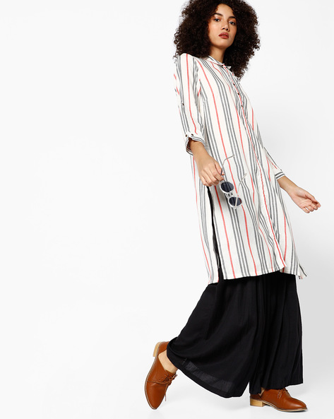 Striped Straight Kurta With Button Placket By Melange By Lifestyle ( Offwhite )