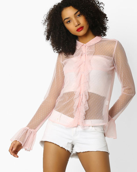 Sheer Top With Ruffles By Rena Love ( Pink )