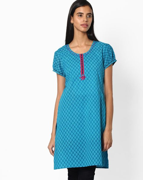 Printed Cotton Straight Kurta By Jiyaa ( Turquoise )