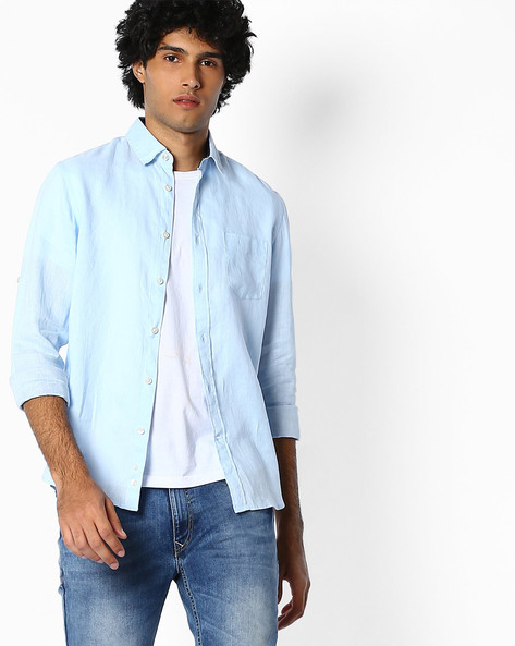 Pure Linen Shirt With Roll-Up Sleeves By Celio ( Lightblue )
