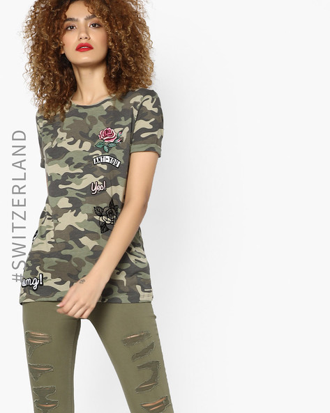 Camouflage Print T-shirt With Applique Badges By TALLY WEiJL ( Multi )