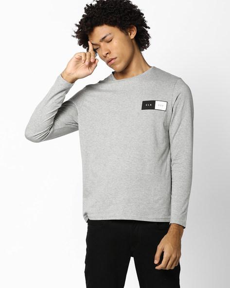 Crew-Neck T-shirt With Printed Back By AJIO ( Greymelange )