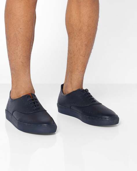 Faux-Leather Low-Cut Sneakers With Perforations By AJIO ( Navy )