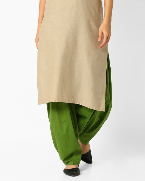 Patiala Pants With Drawstring Fastening By Stylenmart ( Green )
