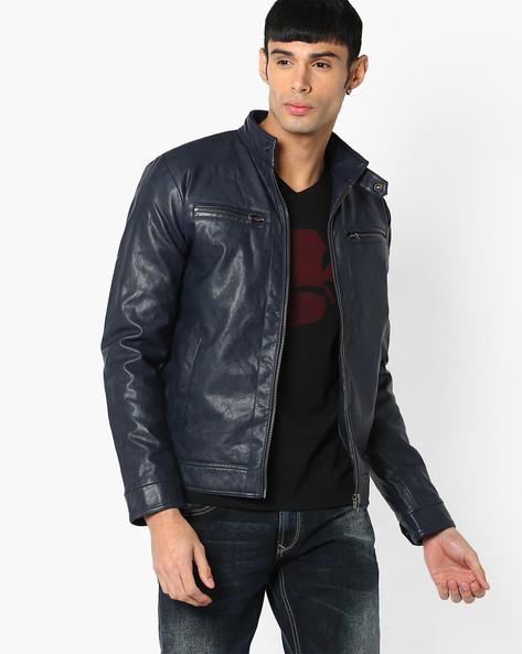 Slim Fit Leatherette Jacket By SPYKAR ( Navy )