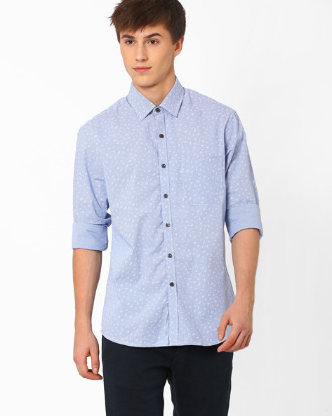 Printed Cotton Shirt By NETWORK ( Blue ) - 440722238003
