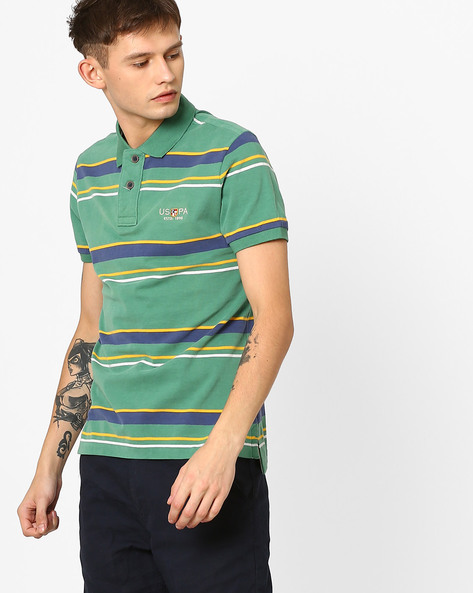 Slim Fit Striped Polo T-Shirt By US POLO ( Assorted )