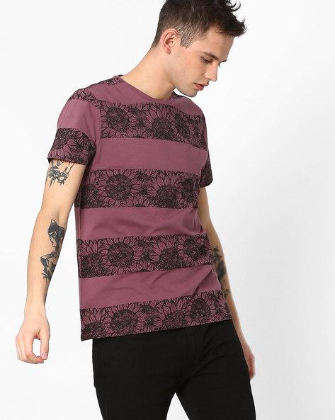 Floral Print Crew-Neck T-shirt By AJIO ( Maroon )