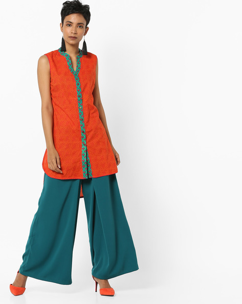 Chevron Print Sleeveless High-Low Tunic By AJIO ( Green )