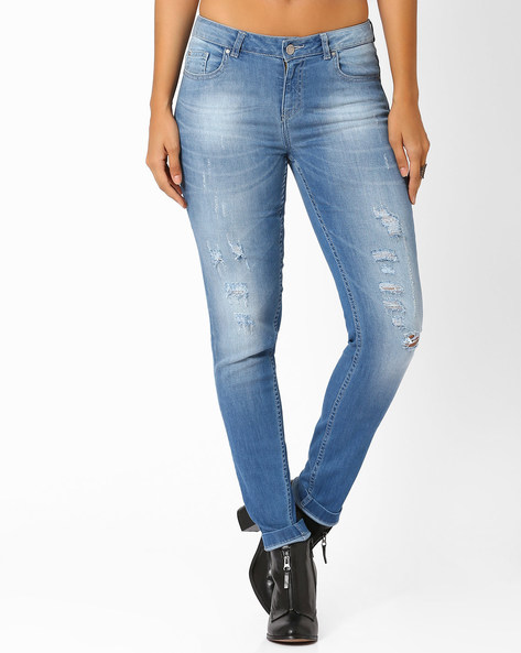 Slim Fit Distressed Jeans By AJIO ( Lightblue )