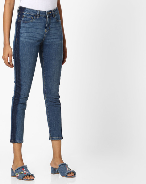 Mid-Calf Length Jeans With Contrast Side Panels By DNMX ( Mediumblue )