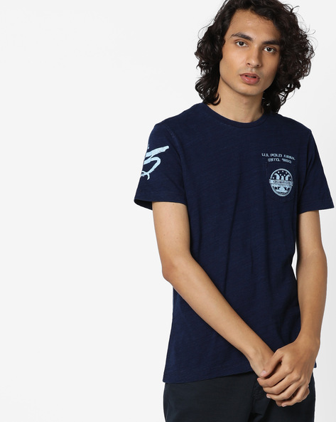 Placement Print Cotton T-shirt By US POLO ( Assorted )