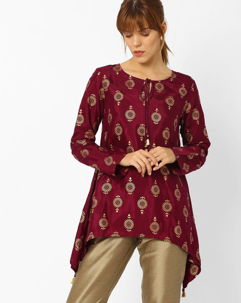 Printed Tunic With Dipped Hem By Global Desi ( Purple )