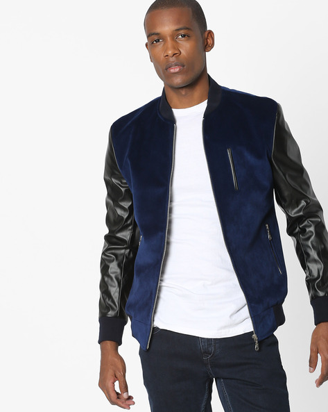 Jacket With Contrast Sleeves By MR.BUTTON ( Blue )