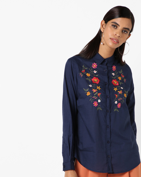 Embroidered Shirt With Spread Collar By Oxolloxo ( Navy )