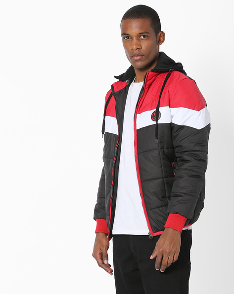 Colourblock Quilted Jacket By Fort Collins ( Black ) - 460138797001