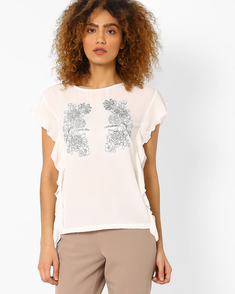 Embroidered Top With Butterfly Sleeves By FIG ( White )