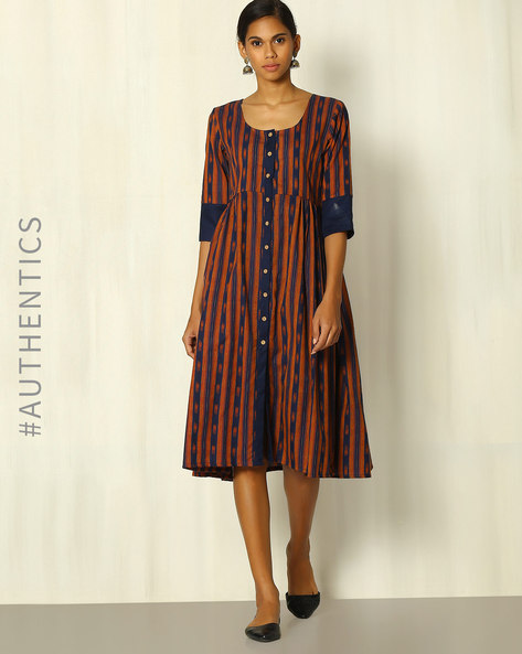 Handloom Ikat Cotton Dress With Contrast Trims By Indie Picks ( Brown )