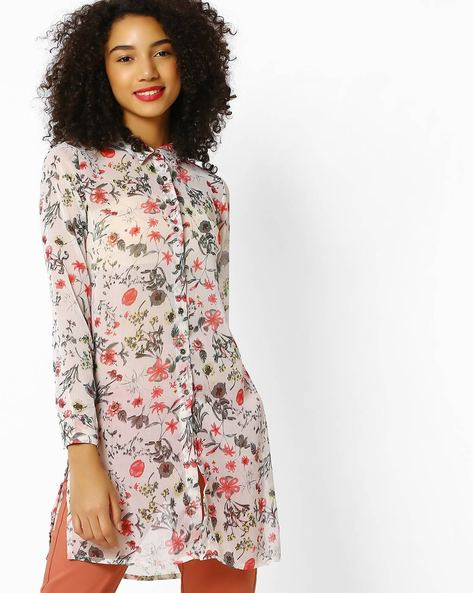 Floral Print Sheer Shirt By DNMX ( Beige )