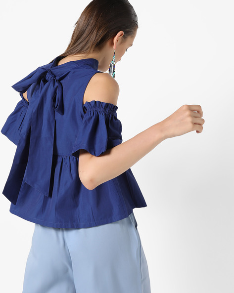 Cold-Shoulder Top With Bow Tie-Up By AJIO ( Blue )