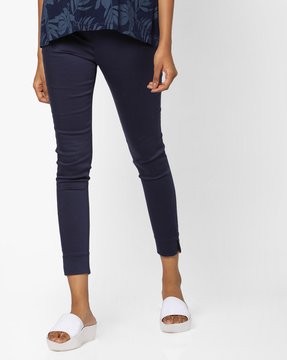 Flat-Front Cropped Trousers By CODE By Lifestyle ( Navy )