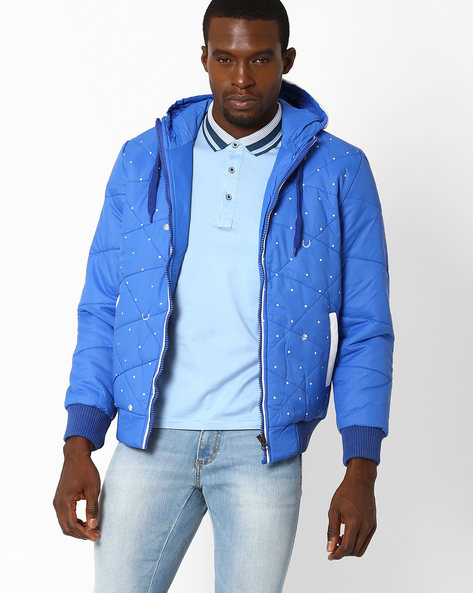 Regular Fit Quilted Jacket With Hood By Fort Collins ( Royalblue )