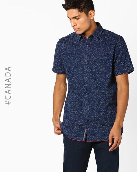 Textured Denim Shirt With Patch Pocket By Point Zero ( Denim )