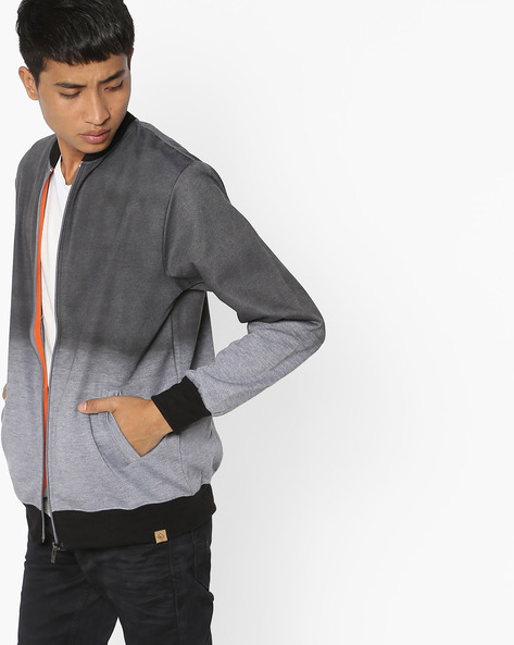 Front Zipper Jacket With Ribbed Hems By BLOTCH ( Blackwhite )