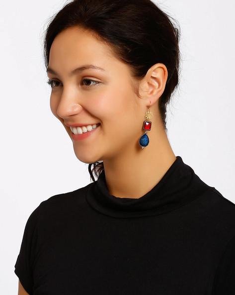 Gold-Plated Drop-Earrings By Shabnam Gitanjali ( Red )